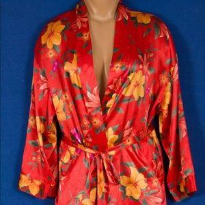 Victoria's Secret Orange Silky Satin Lingerie Robe
